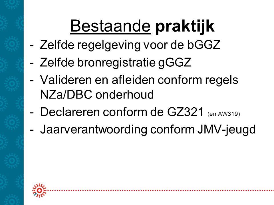 Bestaande praktijk -Zelfde regelgeving voor de bGGZ -Zelfde bronregistratie gGGZ -Valideren en afleiden conform regels NZa/DBC onderhoud -Declareren c