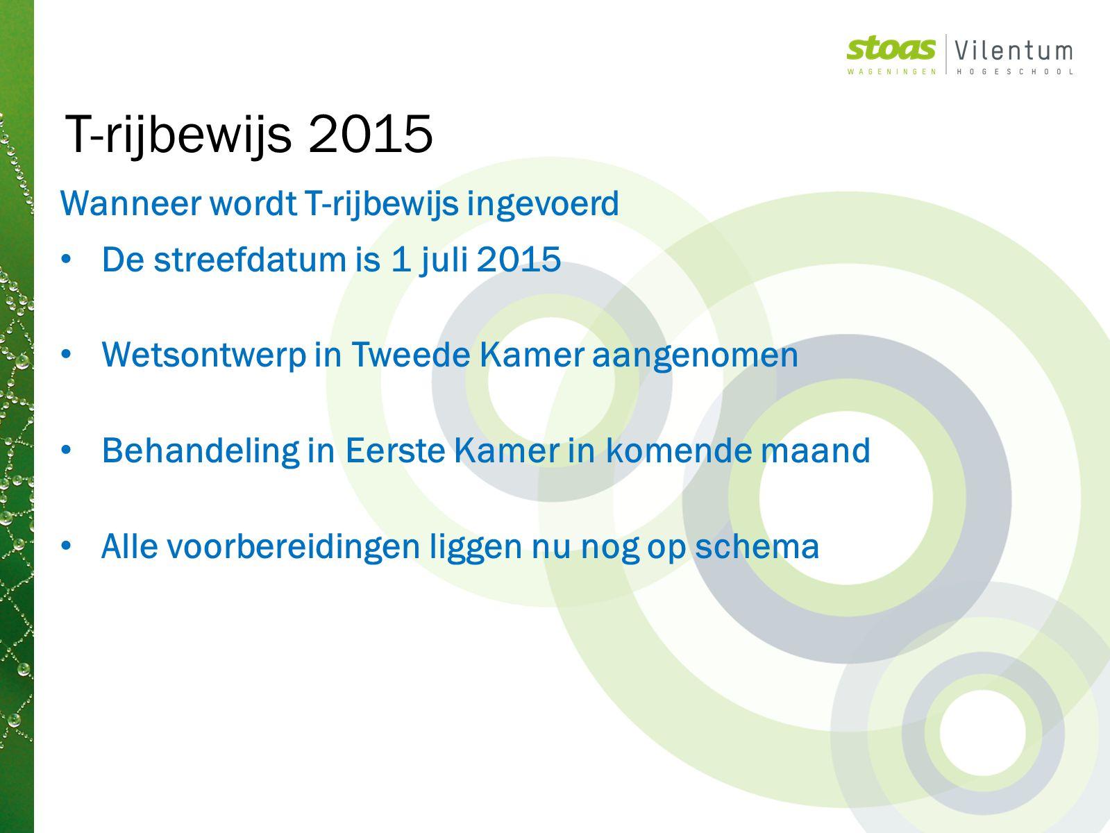 Wanneer wordt T-rijbewijs ingevoerd De streefdatum is 1 juli 2015 Wetsontwerp in Tweede Kamer aangenomen Behandeling in Eerste Kamer in komende maand