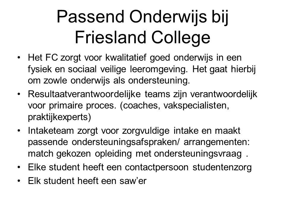 Passend Onderwijs bij Friesland College Het FC zorgt voor kwalitatief goed onderwijs in een fysiek en sociaal veilige leeromgeving.