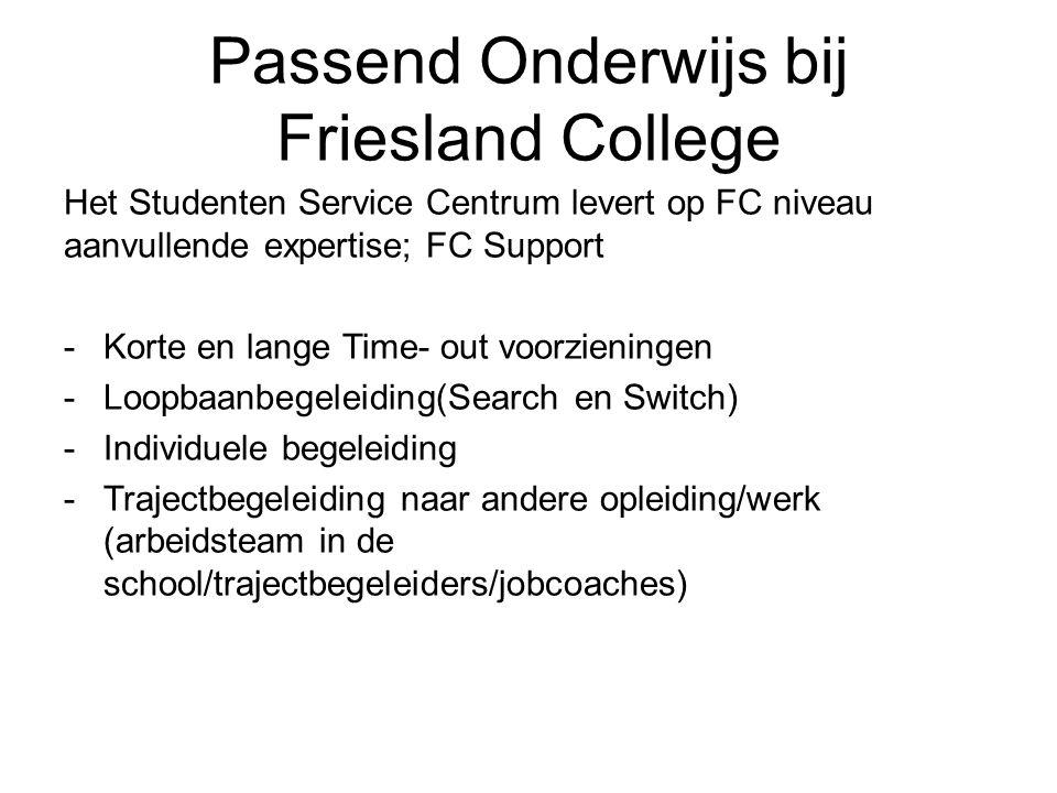 Passend Onderwijs bij Friesland College Het Studenten Service Centrum levert op FC niveau aanvullende expertise; FC Support -Korte en lange Time- out voorzieningen -Loopbaanbegeleiding(Search en Switch) -Individuele begeleiding -Trajectbegeleiding naar andere opleiding/werk (arbeidsteam in de school/trajectbegeleiders/jobcoaches)