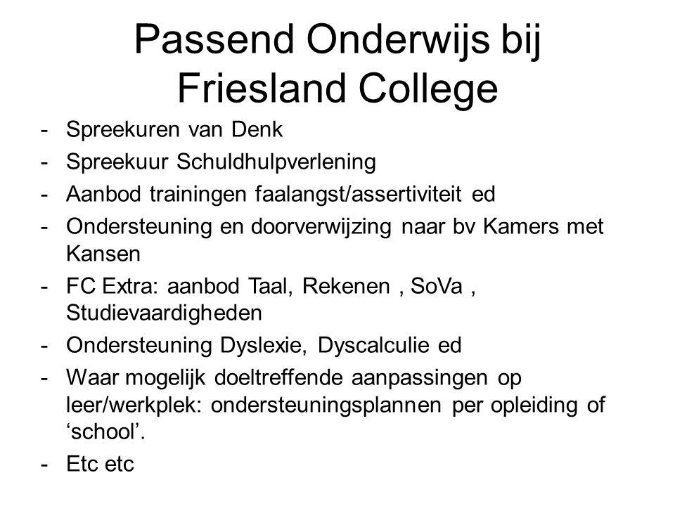 Passend Onderwijs bij Friesland College -Spreekuren van Denk -Spreekuur Schuldhulpverlening -Aanbod trainingen faalangst/assertiviteit ed -Ondersteuning en doorverwijzing naar bv Kamers met Kansen -FC Extra: aanbod Taal, Rekenen, SoVa, Studievaardigheden -Ondersteuning Dyslexie, Dyscalculie ed -Waar mogelijk doeltreffende aanpassingen op leer/werkplek: ondersteuningsplannen per opleiding of 'school'.