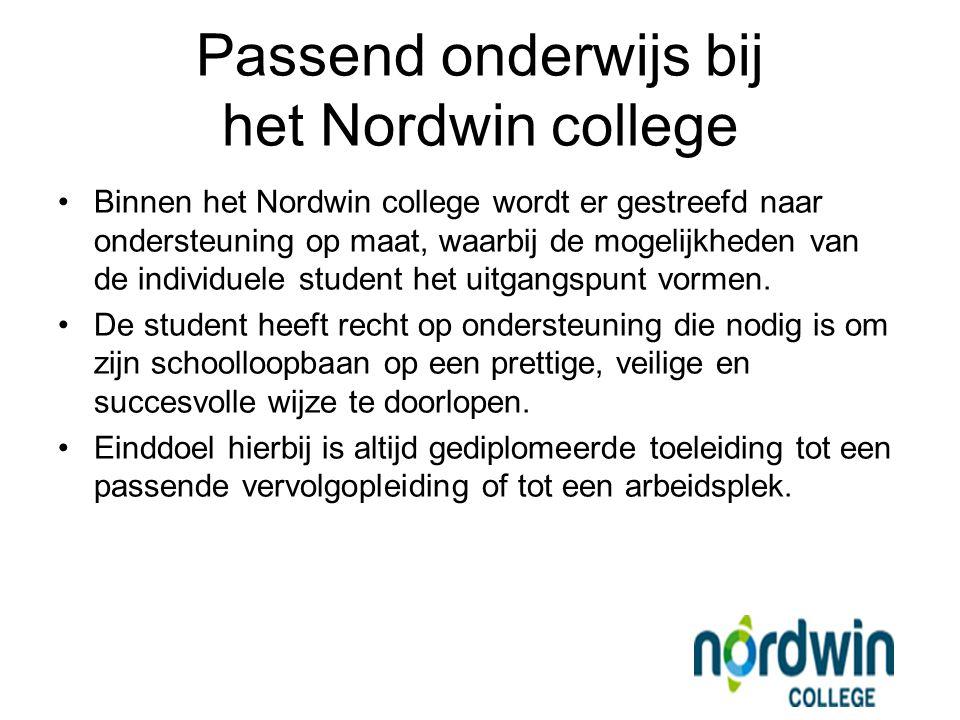 Binnen het Nordwin college wordt er gestreefd naar ondersteuning op maat, waarbij de mogelijkheden van de individuele student het uitgangspunt vormen.