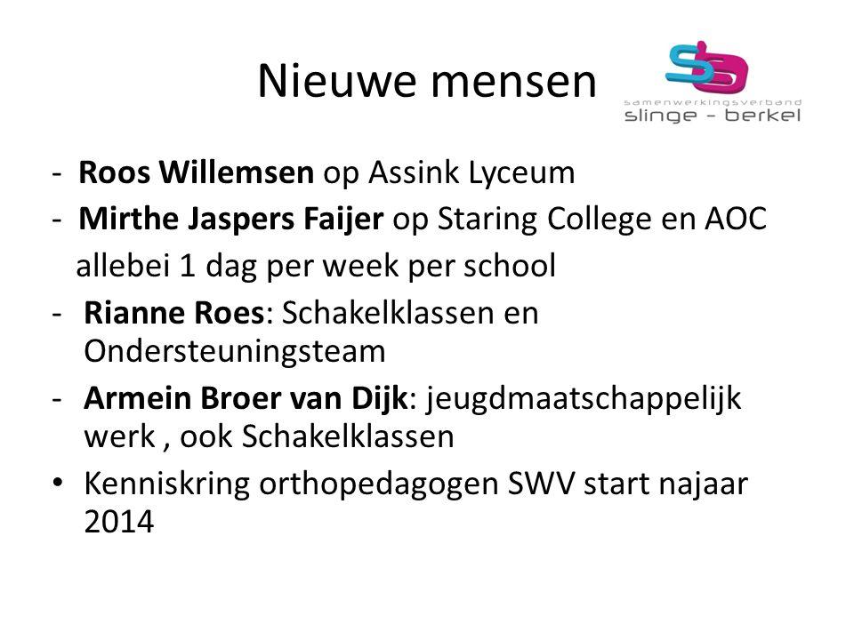 Nieuwe mensen - Roos Willemsen op Assink Lyceum - Mirthe Jaspers Faijer op Staring College en AOC allebei 1 dag per week per school -Rianne Roes: Scha
