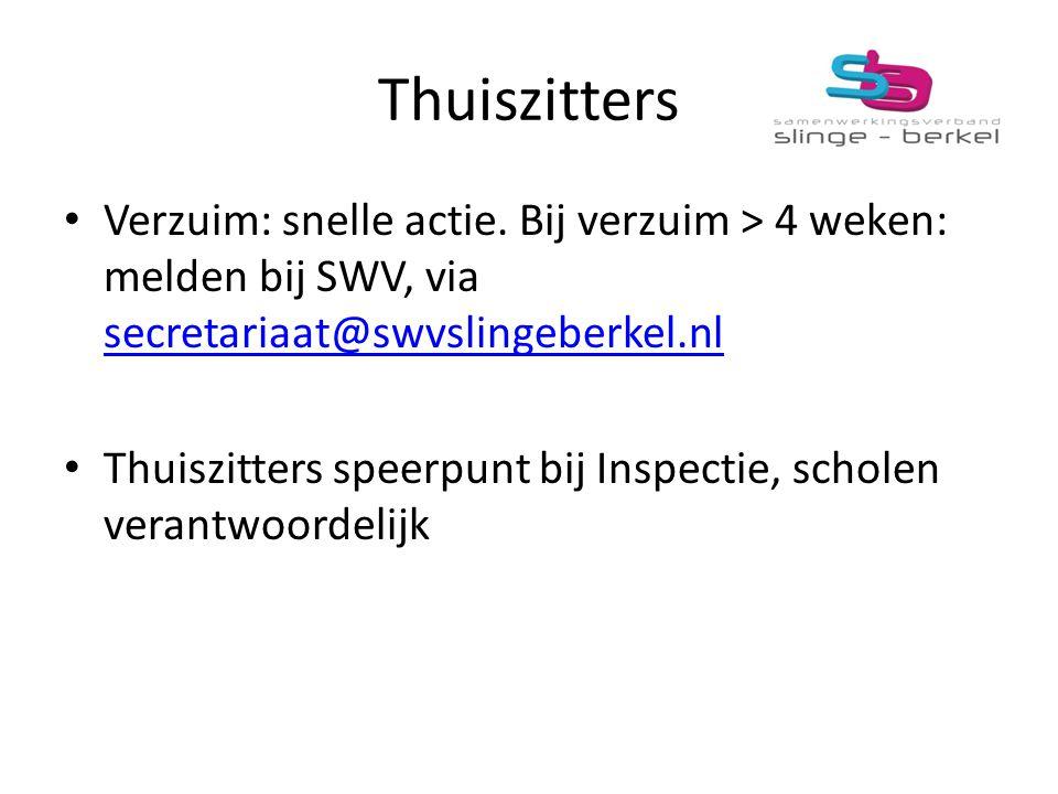 Thuiszitters Verzuim: snelle actie. Bij verzuim > 4 weken: melden bij SWV, via secretariaat@swvslingeberkel.nl secretariaat@swvslingeberkel.nl Thuiszi