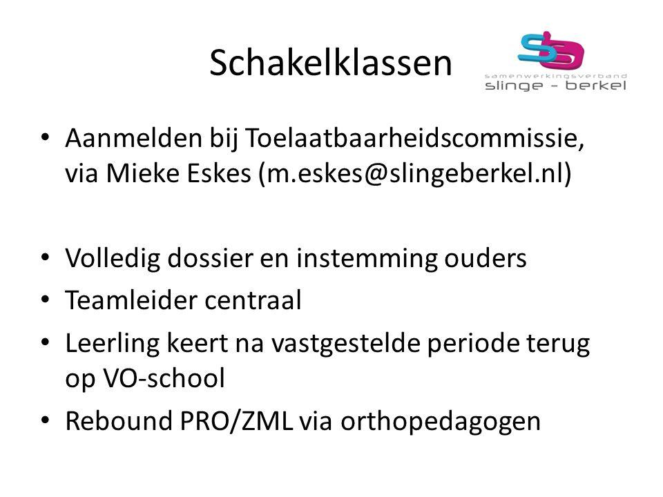 Schakelklassen Aanmelden bij Toelaatbaarheidscommissie, via Mieke Eskes (m.eskes@slingeberkel.nl) Volledig dossier en instemming ouders Teamleider cen