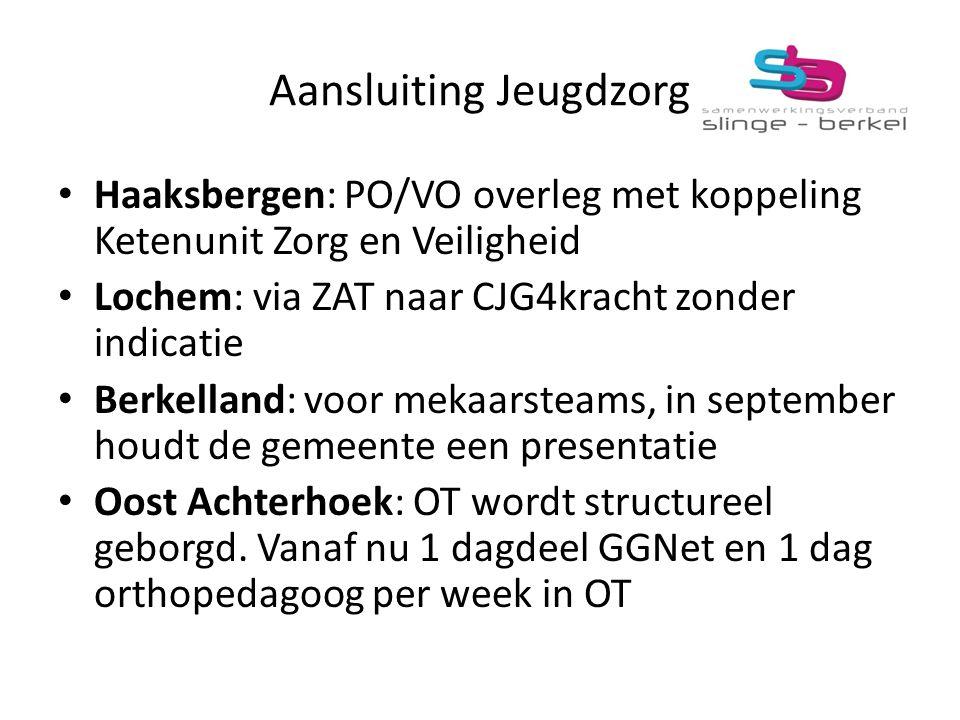 Aansluiting Jeugdzorg Haaksbergen: PO/VO overleg met koppeling Ketenunit Zorg en Veiligheid Lochem: via ZAT naar CJG4kracht zonder indicatie Berkellan