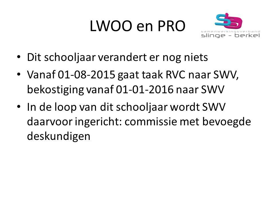 LWOO en PRO Dit schooljaar verandert er nog niets Vanaf 01-08-2015 gaat taak RVC naar SWV, bekostiging vanaf 01-01-2016 naar SWV In de loop van dit sc