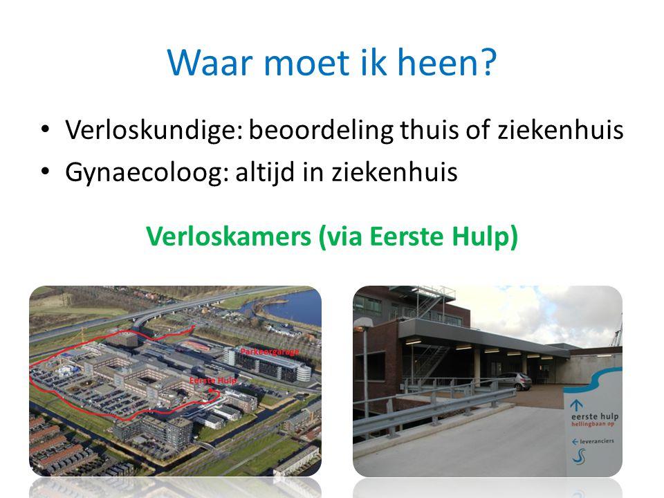 Waar moet ik heen? Verloskundige: beoordeling thuis of ziekenhuis Gynaecoloog: altijd in ziekenhuis Verloskamers (via Eerste Hulp)