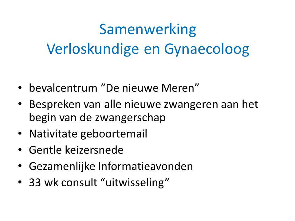"""Samenwerking Verloskundige en Gynaecoloog bevalcentrum """"De nieuwe Meren"""" Bespreken van alle nieuwe zwangeren aan het begin van de zwangerschap Nativit"""