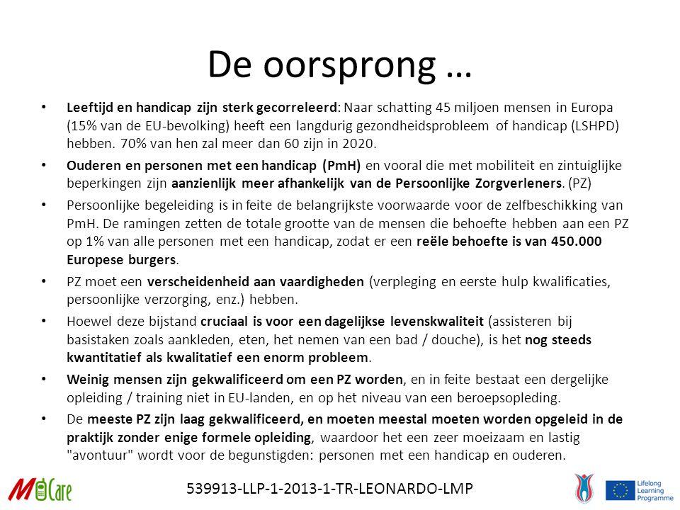 539913-LLP-1-2013-1-TR-LEONARDO-LMP De oorsprong … Leeftijd en handicap zijn sterk gecorreleerd: Naar schatting 45 miljoen mensen in Europa (15% van de EU-bevolking) heeft een langdurig gezondheidsprobleem of handicap (LSHPD) hebben.