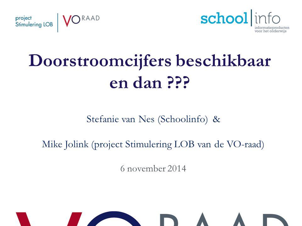 Doorstroomcijfers beschikbaar en dan ??? Stefanie van Nes (Schoolinfo) & Mike Jolink (project Stimulering LOB van de VO-raad) 6 november 2014