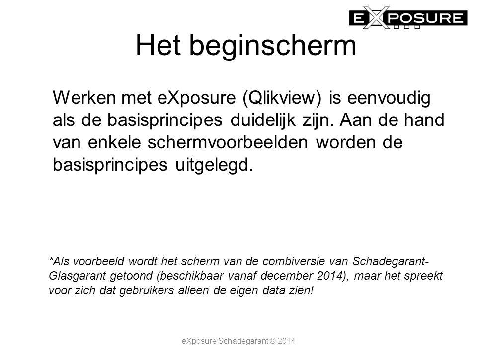 Het beginscherm Werken met eXposure (Qlikview) is eenvoudig als de basisprincipes duidelijk zijn.