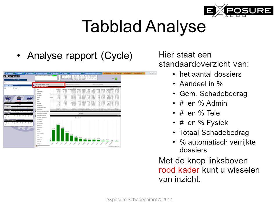 Tabblad Analyse Analyse rapport (Cycle) Hier staat een standaardoverzicht van: het aantal dossiers Aandeel in % Gem.