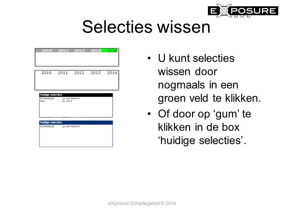 Selecties wissen U kunt selecties wissen door nogmaals in een groen veld te klikken.