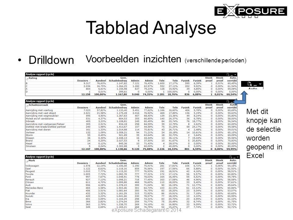 Tabblad Analyse Drilldown Voorbeelden inzichten (verschillende perioden) Met dit knopje kan de selectie worden geopend in Excel eXposure Schadegarant © 2014