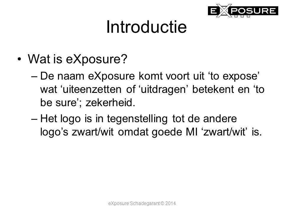 Selectievelden eXposure Schadegarant © 2014 Met de selectie 2014 worden de jaarselectievelden 2010, 2011, 2012 en 2013 grijs om aan te geven dat deze data niet gerelateerd is aan 2014 of omdat de data niet voorhanden is.
