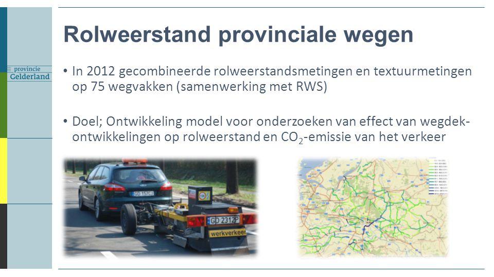 In 2012 gecombineerde rolweerstandsmetingen en textuurmetingen op 75 wegvakken (samenwerking met RWS) Doel; Ontwikkeling model voor onderzoeken van ef