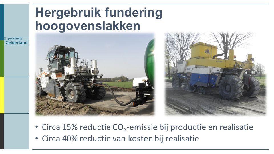 Hergebruik fundering hoogovenslakken Circa 15% reductie CO 2 -emissie bij productie en realisatie Circa 40% reductie van kosten bij realisatie