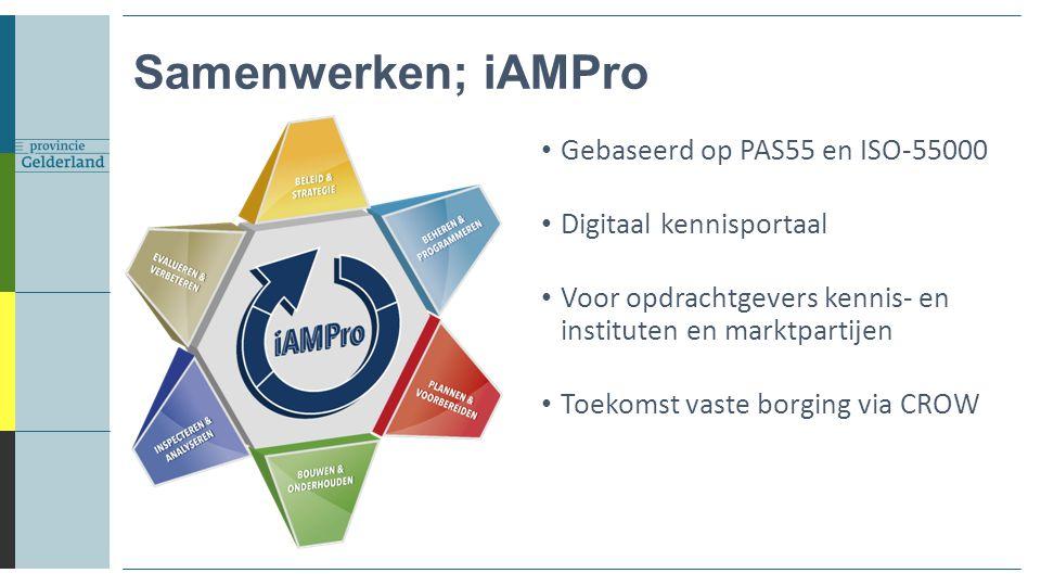 Samenwerken; iAMPro Gebaseerd op PAS55 en ISO-55000 Digitaal kennisportaal Voor opdrachtgevers kennis- en instituten en marktpartijen Toekomst vaste b
