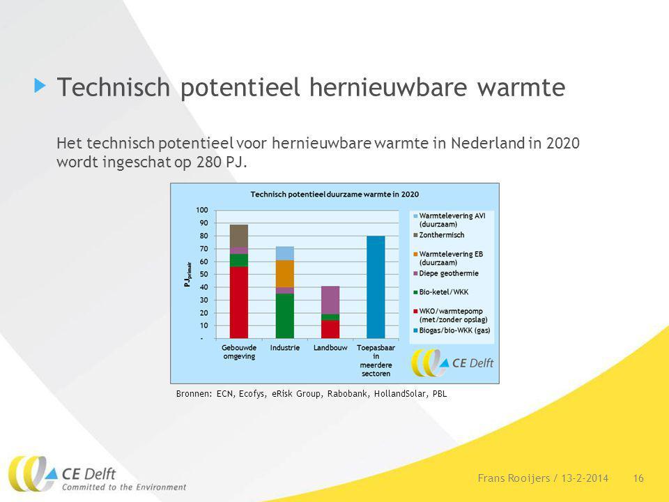 Technisch potentieel hernieuwbare warmte Het technisch potentieel voor hernieuwbare warmte in Nederland in 2020 wordt ingeschat op 280 PJ. 16Frans Roo