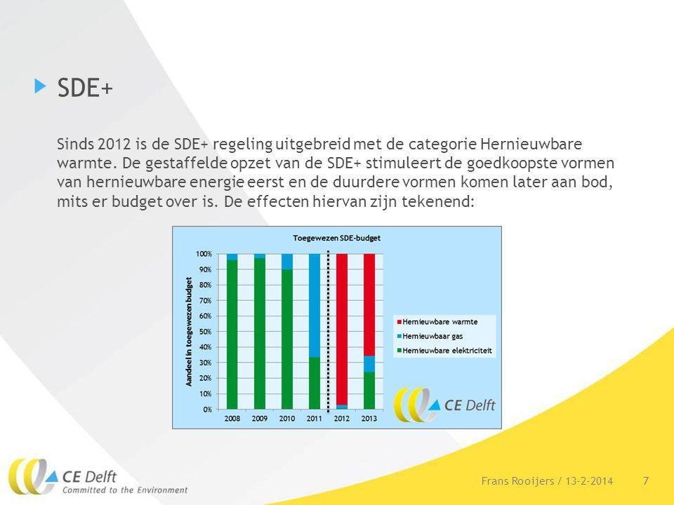 SDE+ Sinds 2012 is de SDE+ regeling uitgebreid met de categorie Hernieuwbare warmte. De gestaffelde opzet van de SDE+ stimuleert de goedkoopste vormen