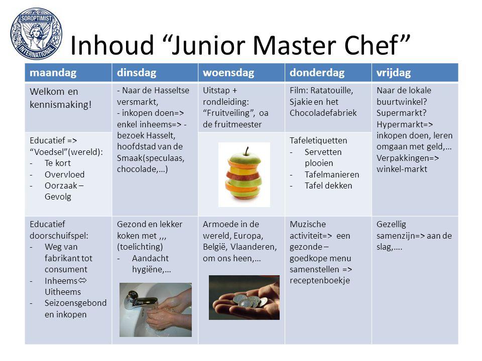 """Inhoud """"Junior Master Chef"""" maandagdinsdagwoensdagdonderdagvrijdag Welkom en kennismaking! - Naar de Hasseltse versmarkt, - inkopen doen=> enkel inhee"""