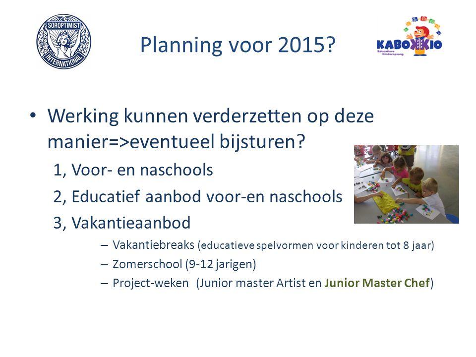 Planning voor 2015? Werking kunnen verderzetten op deze manier=>eventueel bijsturen? 1, Voor- en naschools 2, Educatief aanbod voor-en naschools 3, Va