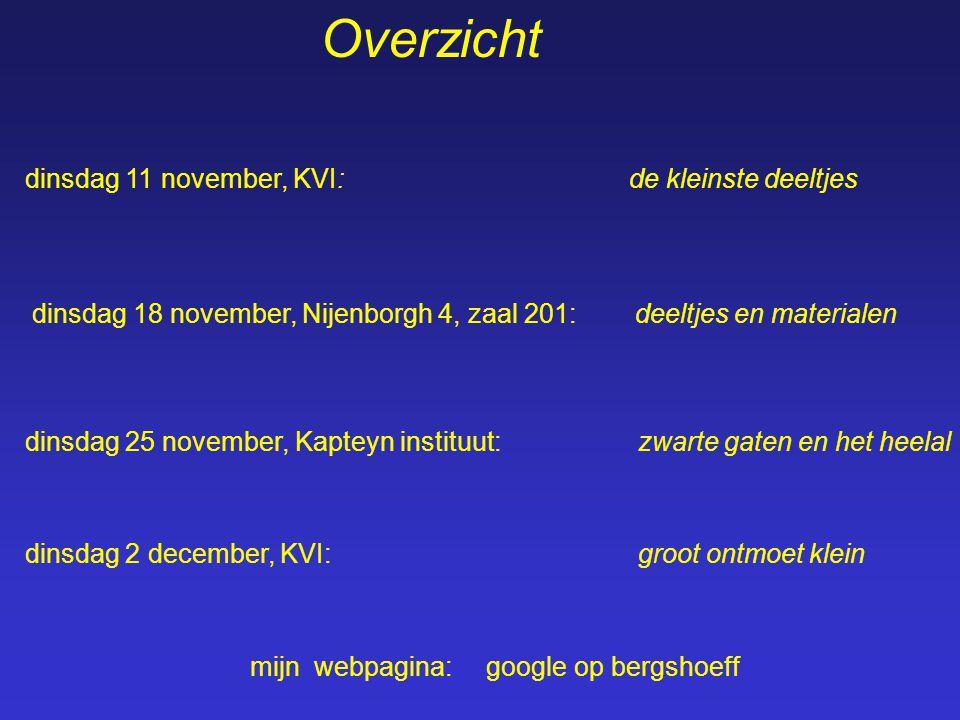 Overzicht dinsdag 11 november, KVI: de kleinste deeltjes dinsdag 18 november, Nijenborgh 4, zaal 201: deeltjes en materialen dinsdag 25 november, Kapteyn instituut: zwarte gaten en het heelal dinsdag 2 december, KVI: groot ontmoet klein mijn webpagina: google op bergshoeff
