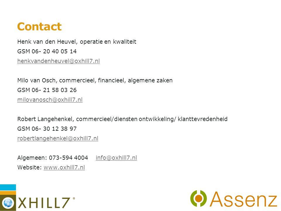 Contact Henk van den Heuvel, operatie en kwaliteit GSM 06- 20 40 05 14 henkvandenheuvel@oxhill7.nl Milo van Osch, commercieel, financieel, algemene zaken GSM 06- 21 58 03 26 milovanosch@oxhill7.nl Robert Langehenkel, commercieel/diensten ontwikkeling/ klanttevredenheid GSM 06- 30 12 38 97 robertlangehenkel@oxhill7.nl Algemeen: 073-594 4004 info@oxhill7.nlinfo@oxhill7.nl Website: www.oxhill7.nlwww.oxhill7.nl 13