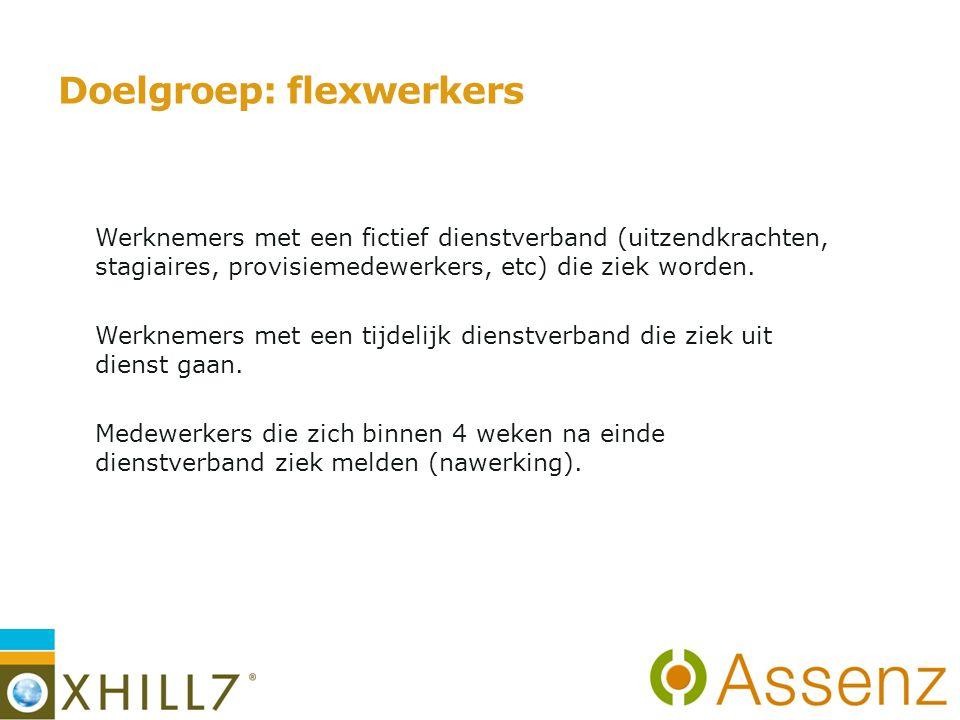 Doelgroep: flexwerkers -Werknemers met een fictief dienstverband (uitzendkrachten, stagiaires, provisiemedewerkers, etc) die ziek worden.