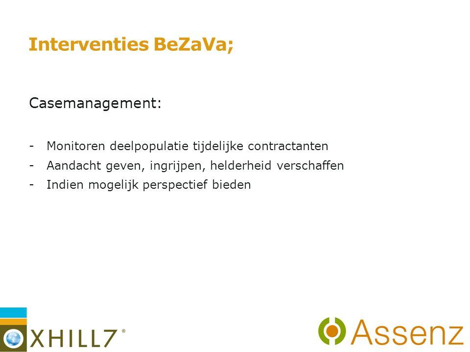 Interventies BeZaVa; Casemanagement: -Monitoren deelpopulatie tijdelijke contractanten -Aandacht geven, ingrijpen, helderheid verschaffen -Indien mogelijk perspectief bieden 7