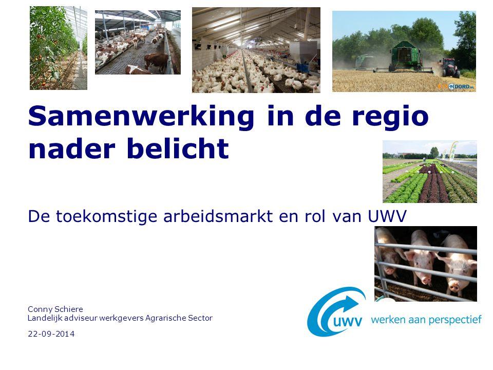22-09-2014 Conny Schiere Landelijk adviseur werkgevers Agrarische Sector Samenwerking in de regio nader belicht De toekomstige arbeidsmarkt en rol van