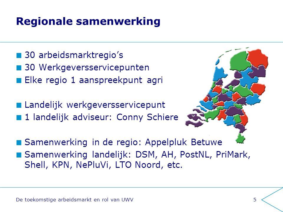 De toekomstige arbeidsmarkt en rol van UWV5 Regionale samenwerking 30 arbeidsmarktregio's 30 Werkgeversservicepunten Elke regio 1 aanspreekpunt agri L
