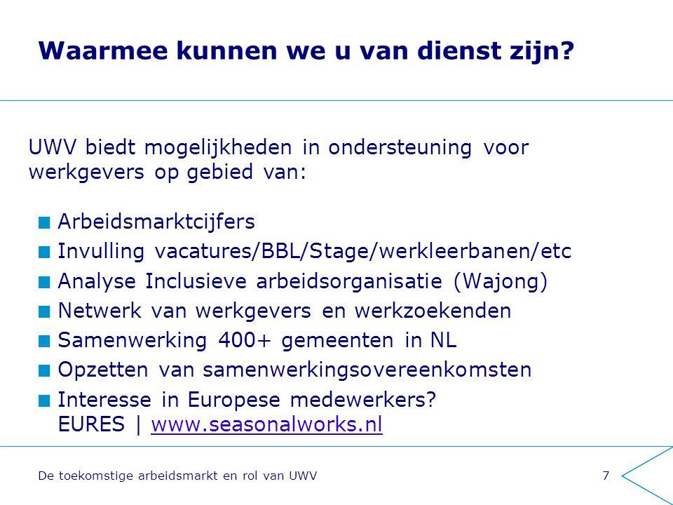 De toekomstige arbeidsmarkt en rol van UWV7 Waarmee kunnen we u van dienst zijn? Arbeidsmarktcijfers Invulling vacatures/BBL/Stage/werkleerbanen/etc A
