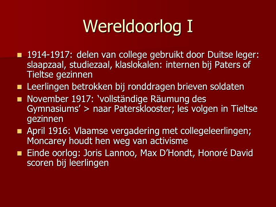 Wereldoorlog I 1914-1917: delen van college gebruikt door Duitse leger: slaapzaal, studiezaal, klaslokalen: internen bij Paters of Tieltse gezinnen 19
