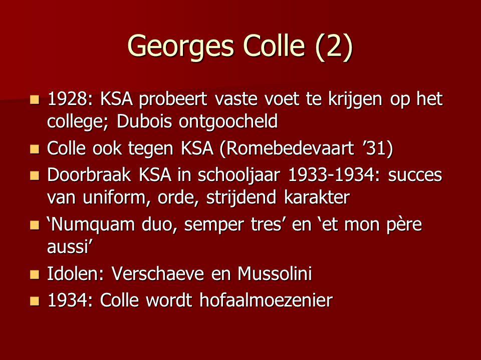 Georges Colle (2) 1928: KSA probeert vaste voet te krijgen op het college; Dubois ontgoocheld 1928: KSA probeert vaste voet te krijgen op het college;