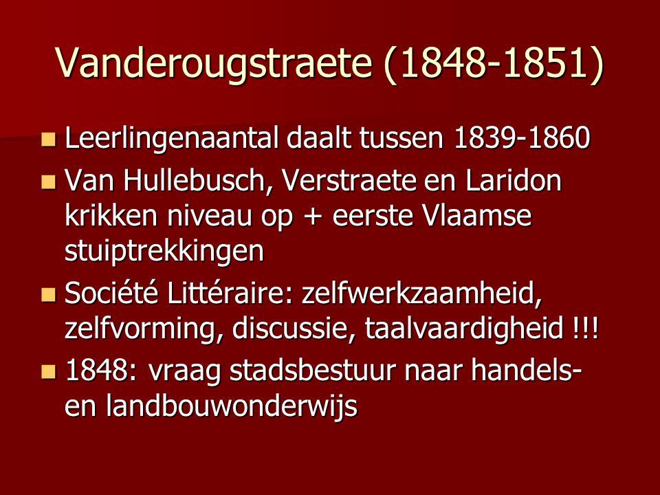 Vanderougstraete (1848-1851) Leerlingenaantal daalt tussen 1839-1860 Leerlingenaantal daalt tussen 1839-1860 Van Hullebusch, Verstraete en Laridon kri