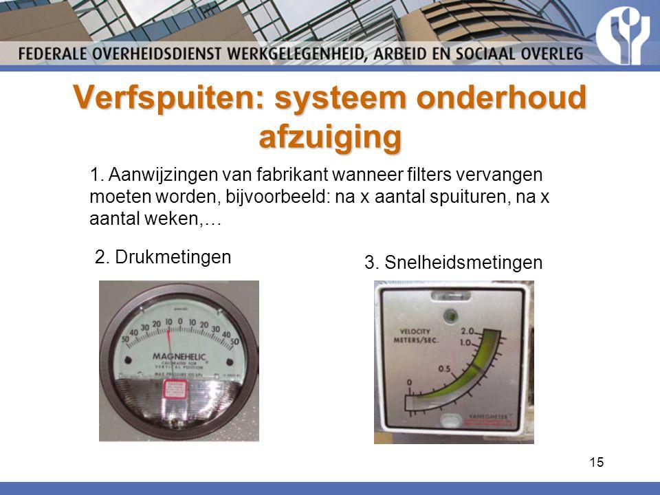 15 Verfspuiten: systeem onderhoud afzuiging 1. Aanwijzingen van fabrikant wanneer filters vervangen moeten worden, bijvoorbeeld: na x aantal spuituren