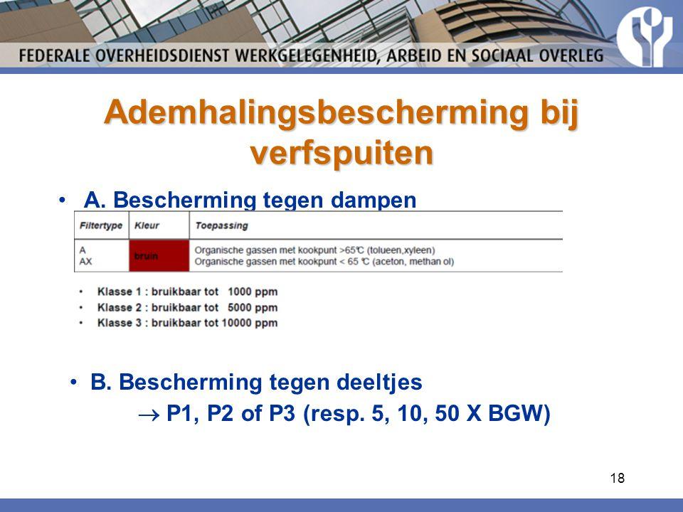 18 Ademhalingsbescherming bij verfspuiten A. Bescherming tegen dampen B. Bescherming tegen deeltjes  P1, P2 of P3 (resp. 5, 10, 50 X BGW)