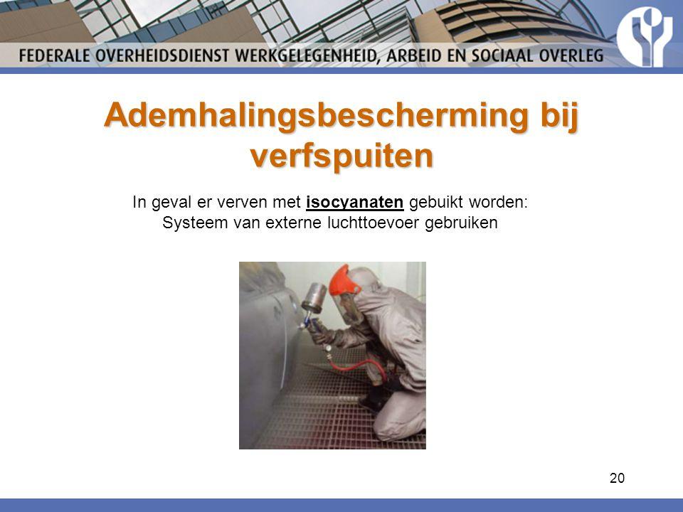 20 Ademhalingsbescherming bij verfspuiten In geval er verven met isocyanaten gebuikt worden: Systeem van externe luchttoevoer gebruiken
