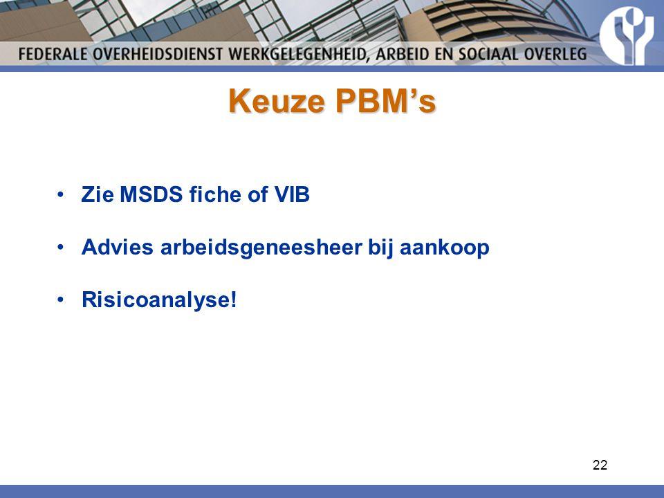 22 Keuze PBM's Zie MSDS fiche of VIB Advies arbeidsgeneesheer bij aankoop Risicoanalyse!