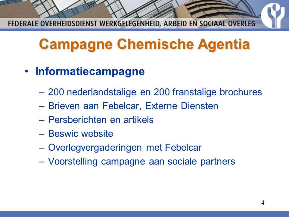 4 Campagne Chemische Agentia Informatiecampagne –200 nederlandstalige en 200 franstalige brochures –Brieven aan Febelcar, Externe Diensten –Persberichten en artikels –Beswic website –Overlegvergaderingen met Febelcar –Voorstelling campagne aan sociale partners