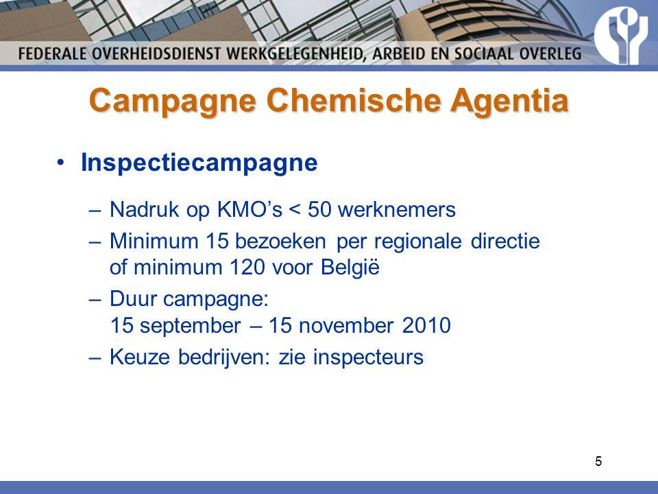 5 Campagne Chemische Agentia Inspectiecampagne –Nadruk op KMO's < 50 werknemers –Minimum 15 bezoeken per regionale directie of minimum 120 voor België –Duur campagne: 15 september – 15 november 2010 –Keuze bedrijven: zie inspecteurs