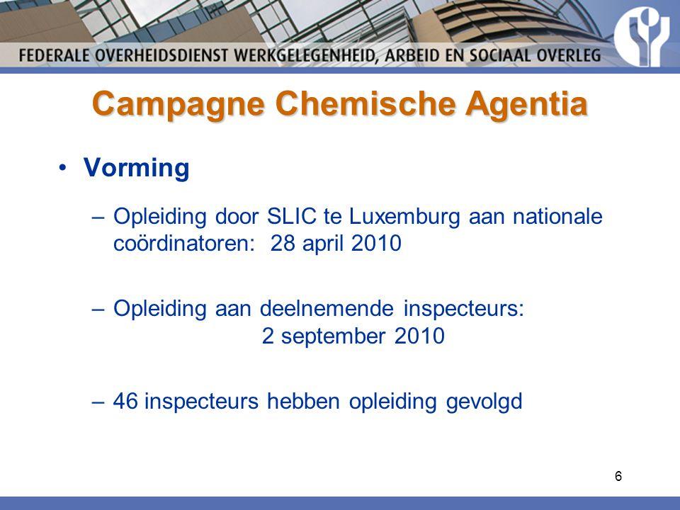 6 Campagne Chemische Agentia Vorming –Opleiding door SLIC te Luxemburg aan nationale coördinatoren: 28 april 2010 –Opleiding aan deelnemende inspecteurs: 2 september 2010 –46 inspecteurs hebben opleiding gevolgd