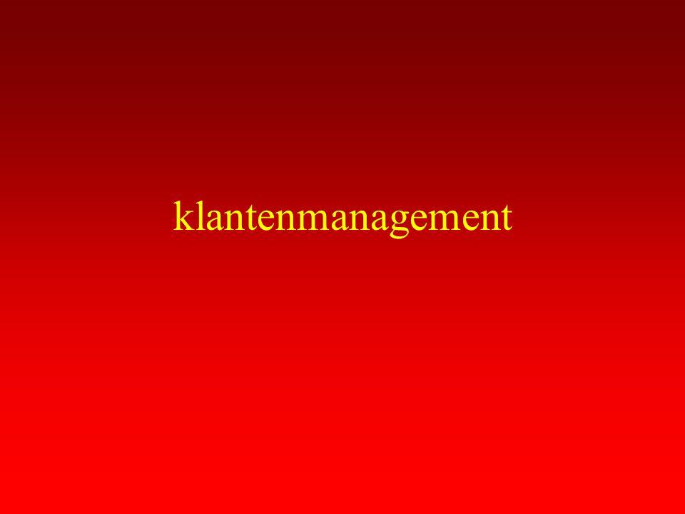 Gebrek aan klantinzicht Onvoldoende inzicht welke klanten nu het grootste belang voor de onderneming vertegenwoordigen.
