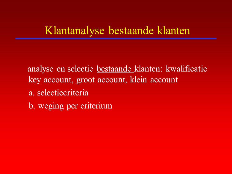 Klantanalyse bestaande klanten analyse en selectie bestaande klanten: kwalificatie key account, groot account, klein account a. selectiecriteria b. we
