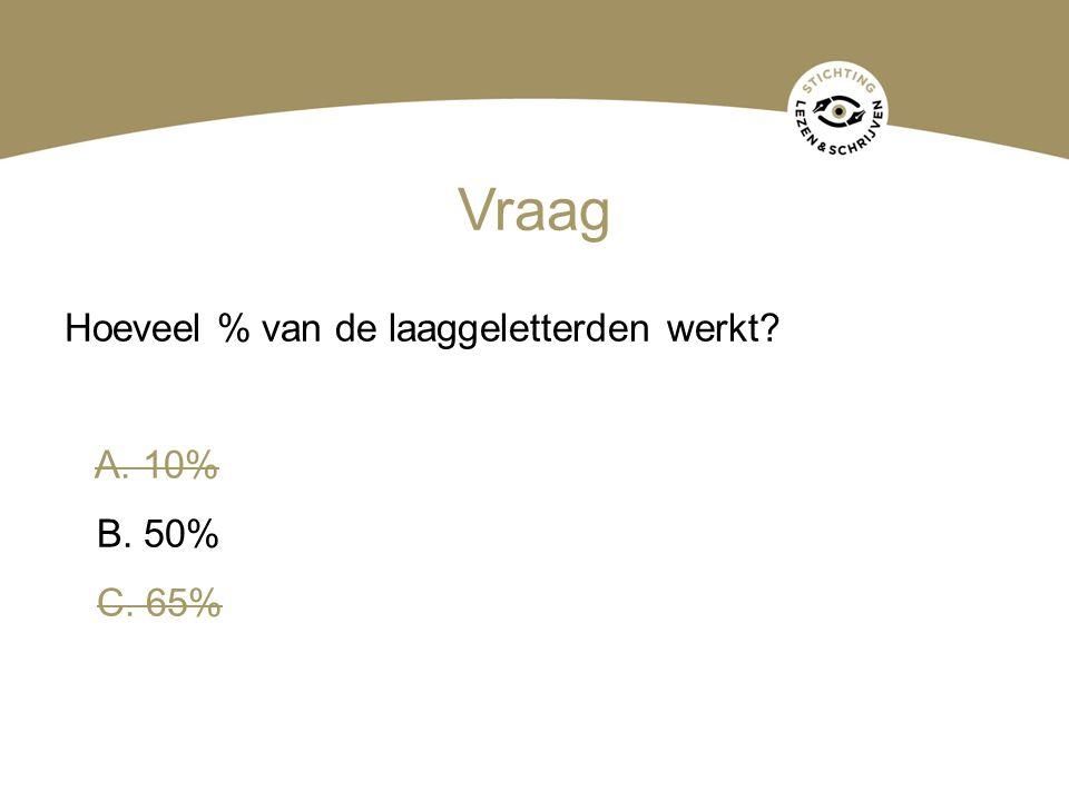 Hoeveel % van de laaggeletterden werkt? A. 10% B. 50% C. 65%