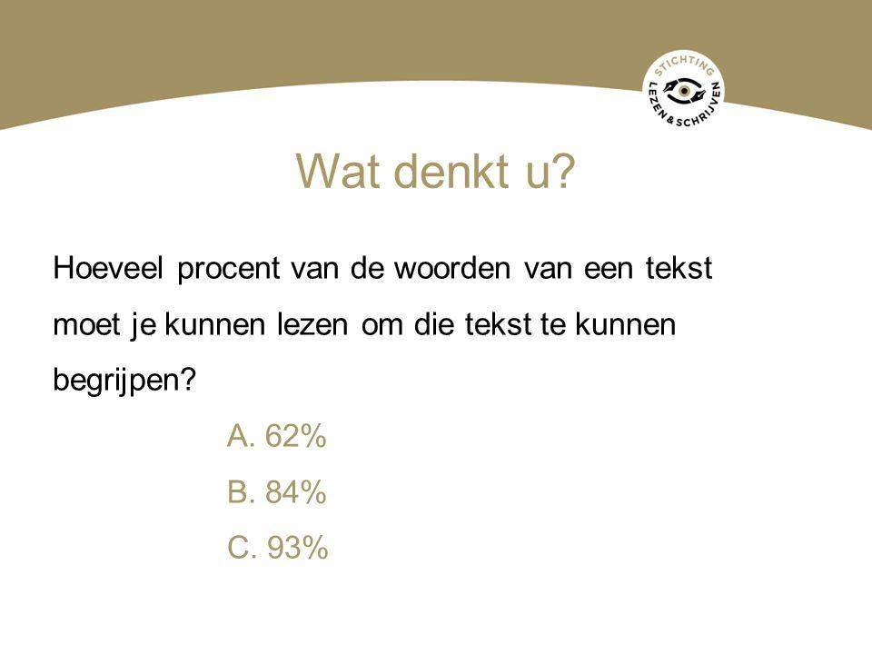 Wat denkt u? Hoeveel procent van de woorden van een tekst moet je kunnen lezen om die tekst te kunnen begrijpen? A. 62% B. 84% C. 93%