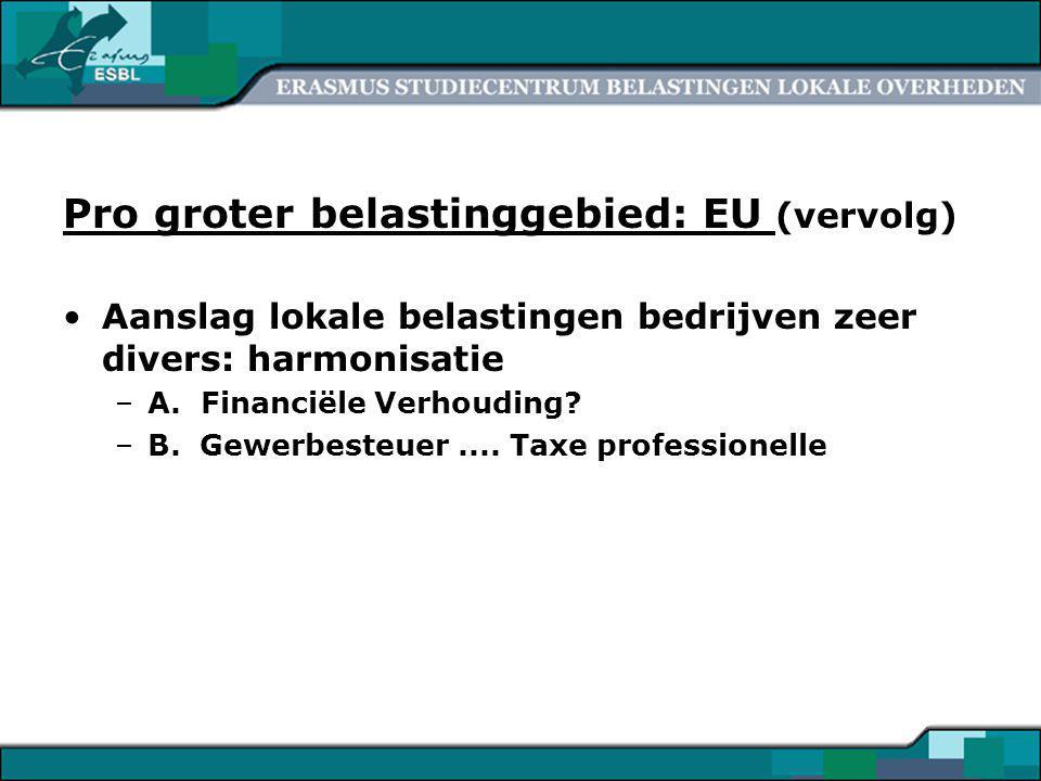 16 Pro groter belastinggebied: EU (vervolg) Aanslag lokale belastingen bedrijven zeer divers: harmonisatie –A.