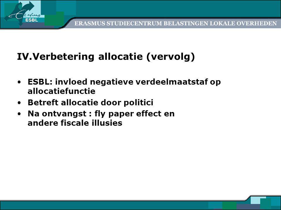 7 IV.Verbetering allocatie (vervolg) ESBL: invloed negatieve verdeelmaatstaf op allocatiefunctie Betreft allocatie door politici Na ontvangst : fly paper effect en andere fiscale illusies